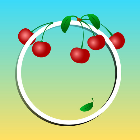 Summer background. Fruit banner, cherries on round frame for your text. Vector illustration