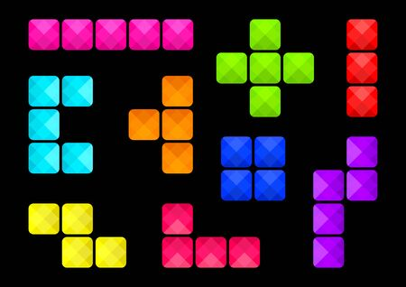 Colorful set of square buttons on black background, different shapes block, various types of block connections. Vector illustration
