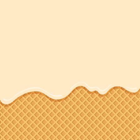 Helado de vainilla que fluye hacia abajo sobre fondo de obleas. Ilustración vectorial