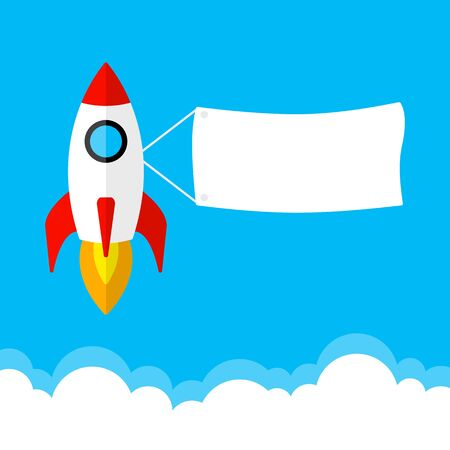 Rocket launch, start up business concept. Banner for your text. Vector illustration