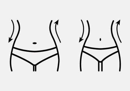Figura di donna grassa e magra, prima e dopo la perdita di peso. Silhouette del corpo femminile. Vita da donna, perdita di peso, dieta, icona della linea di cintura. Illustrazione vettoriale