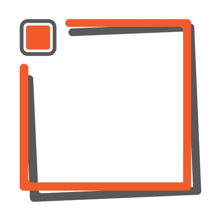 Orange square frame with button for your text. Vector illustration