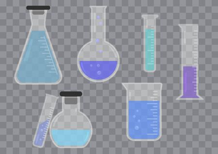Set of glass chemical flask with colored liquid on transparent background. Vector illustration  イラスト・ベクター素材
