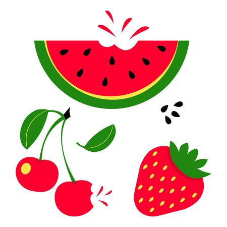 Summer red fruits set. Watermelon, cherry and strawberry. Vector illustration  イラスト・ベクター素材