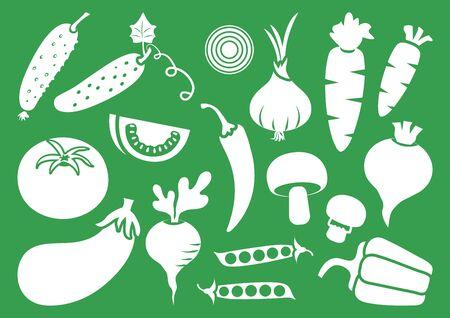Vegetable set, white silhouettes on green background. Vector illustration