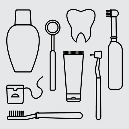 Stomatology. Oral care and hygiene, dentistry and tooth cleaning. Outline design. Vector illustration