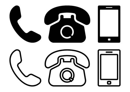 Black set of phone icons, flat and outline design. Vector illustration