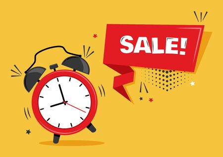 Red alarm clock with ribbon banner with inscription SALE on yellow background. Vector illustration.  イラスト・ベクター素材