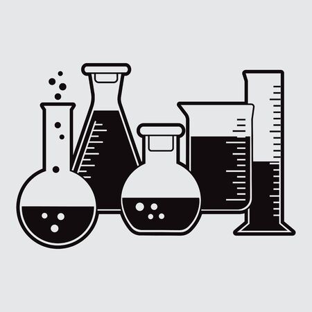 Black set of chemical flask with liquid. Vector illustration