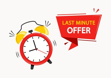 Red alarm clock with ribbon banner with inscription LAST MINUTE OFFER. Vector illustration.  イラスト・ベクター素材