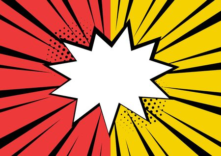 White empty comic speech bubble with stars and dots on red and yellow background. Vector illustration in pop art style  イラスト・ベクター素材
