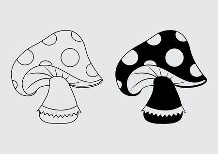 Amanita muscaria icon, black outline and flat design. Vector illustration