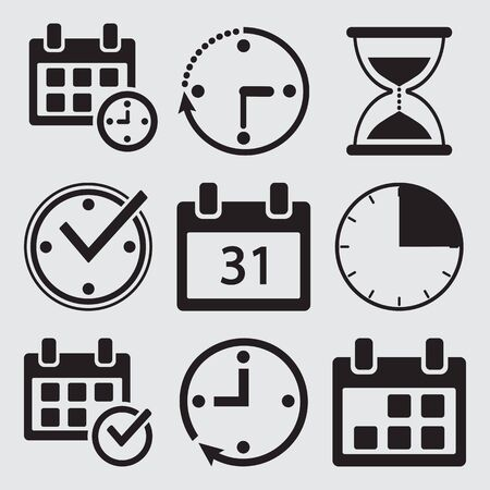Black set of time management icons. Vector illustration