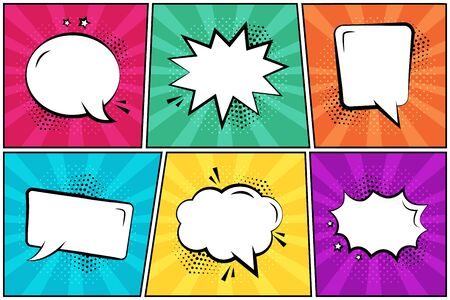 Set in pop art style. White empty comic speech bubbles on colorful background. Vector illustration  イラスト・ベクター素材