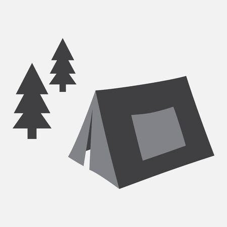 Camping. Tent in the forest. Vector illustration
