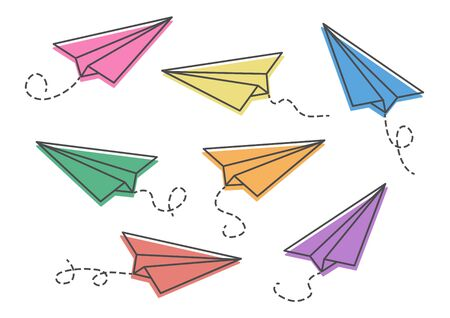 Set of colorful paper planes isolaten on white background. Vector illustration