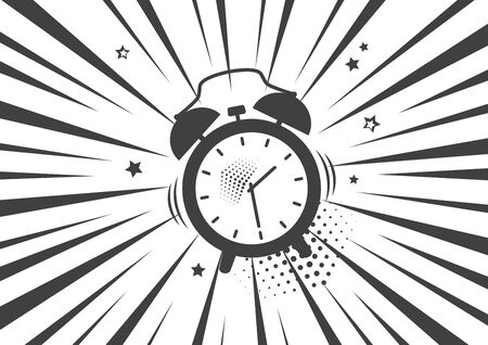 Alarm clock in black and white background. Vector illustration in pop art style.