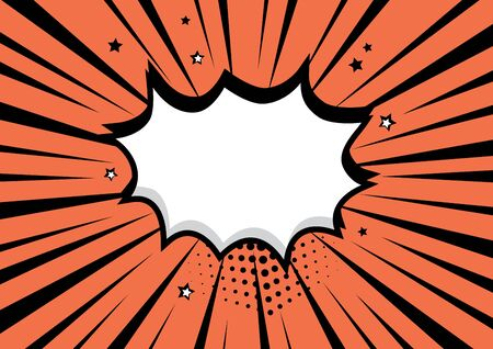 White empty comic speech bubble with stars and halftone shadow on orange background. Vector illustration in pop art style