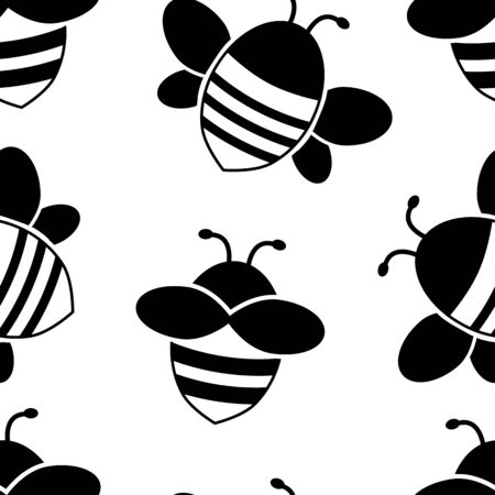 Seamless pattern with black cartoon flying bee isolated on white background. Vector illustration