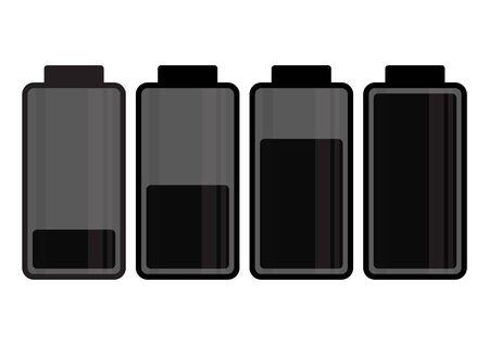 Black battery icon. Charge level. Vector illustration  イラスト・ベクター素材