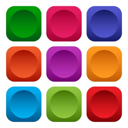Colorful set of square push buttons. Vector illustration