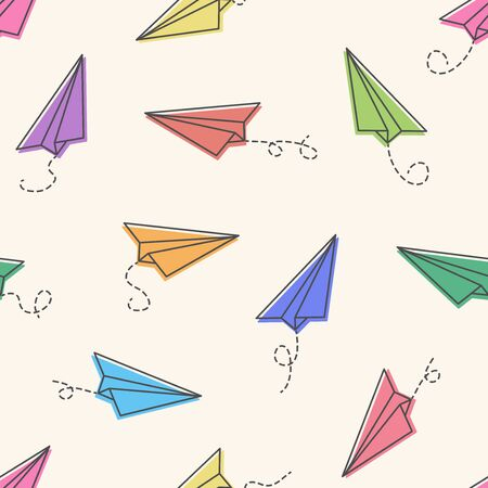 Seamless pattern with colorful paper planes on pastel background. Vector illustration