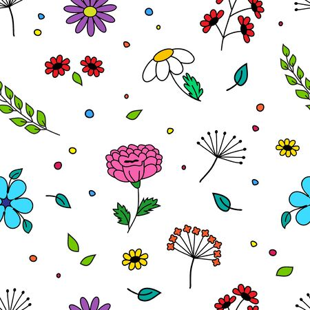 Seamless pattern with colorful different flowers and plant, hand drawn, isolated on white background. Vector illustration