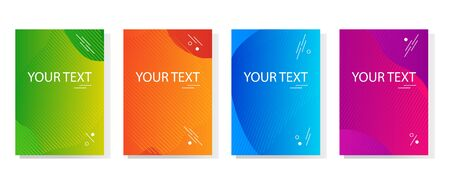 Colorful set of abstract dynamic modern bright banners, template cover design. Space for your text. Colored gradient. Vector illustration
