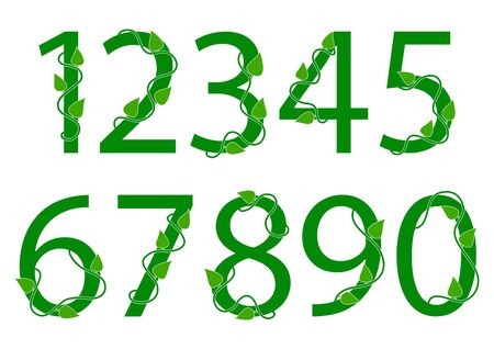 Green font numbers from 1 to 0 with leaves. Nature style. Vector illustration