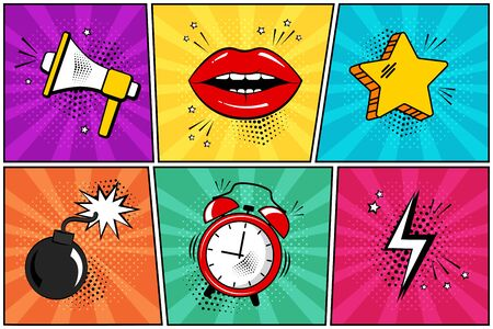 Colorful set of comic icon in pop art style. Megaphone, lips, star, bomb, alarm clock, lightning. Vector illustration  イラスト・ベクター素材