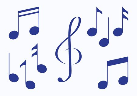 Set of music notes. Blue silhouette. Vector illustration  イラスト・ベクター素材