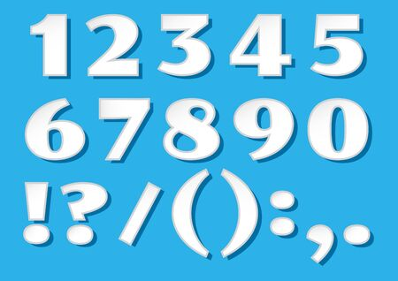 White paper font numbers with shadows from 1 to 0 and characters on blue background. Vector illustration