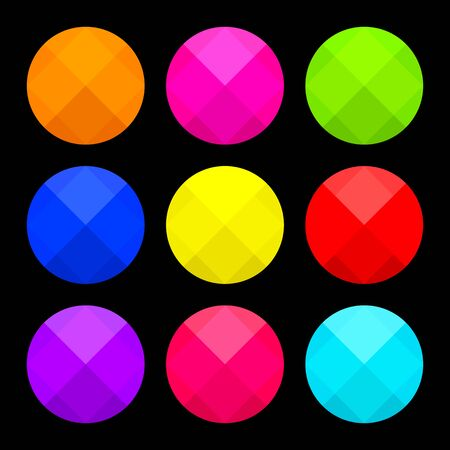 Colorful set of round buttons on black background. Vector illustration  イラスト・ベクター素材