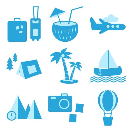 Blue set of travel, recreation and vacation icons. Tourism types. Vector illustration  イラスト・ベクター素材