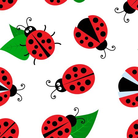 Summer seamless pattern with ladybugs and leaves isolated on white background. Vector illustration  イラスト・ベクター素材