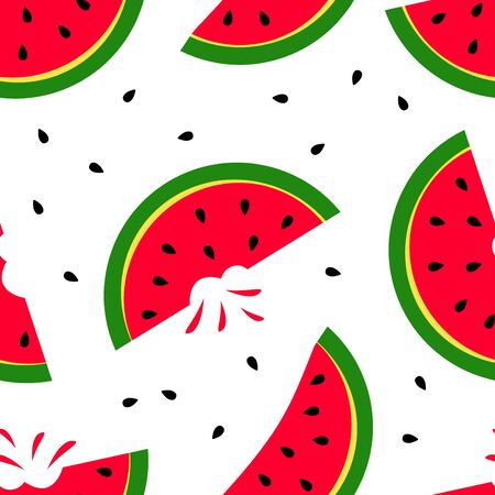 Bright summer seamless pattern with slice watermelon isolated on white background. Vector illustration