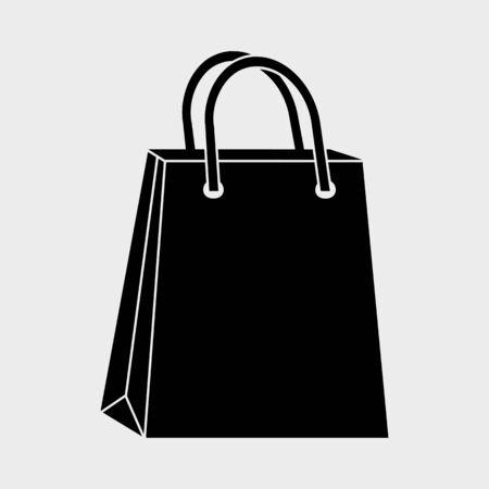 Black shopping paper bag icon. Vector illustration