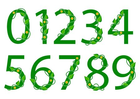 Green font numbers from 1 to 0 with leaves and flowers. Nature style. Vector illustration