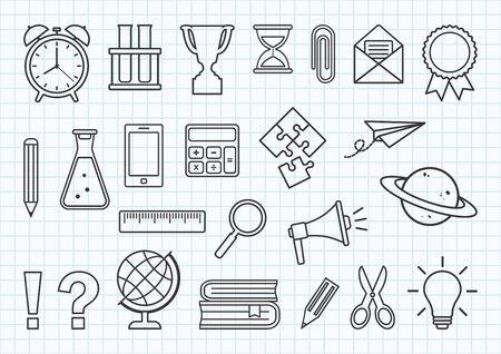 Set of school supplies on checkered notebook background. Black line art. Vector illustration