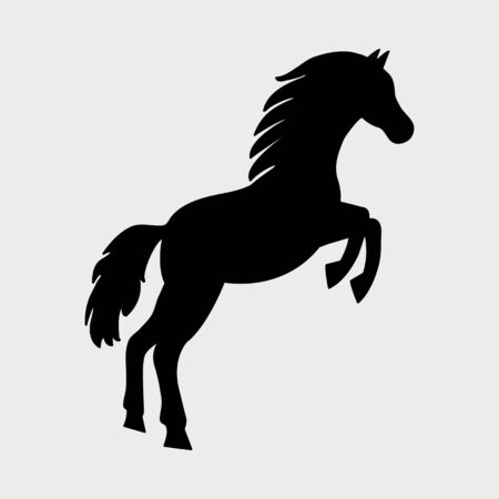 Horse icon, black silhouette on gray background. Vector illustration