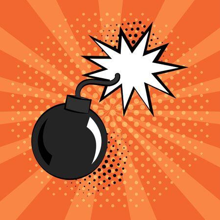 Comic bomb icon on orange background in pop art style. Vector illustration