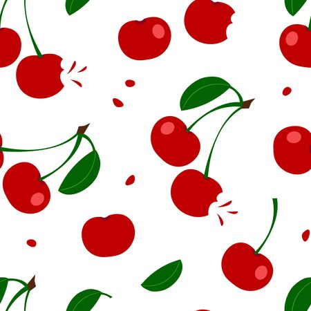 Summer seamless pattern with red cherry and leaves isolated on white background. Vector illustration  イラスト・ベクター素材
