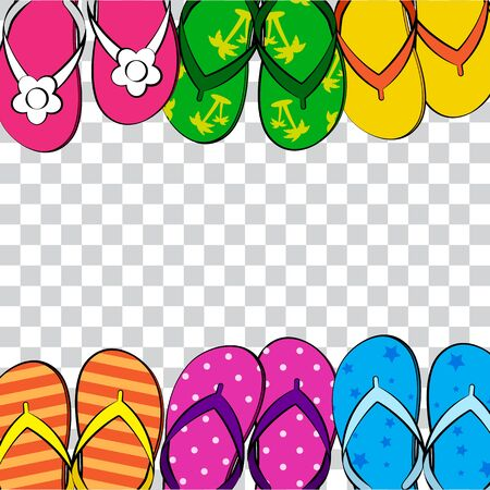 Summer funny transparent background with bright colorful flip flop, foot wear. Comic book style, space for your text. Vector illustration