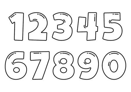 Black font numbers from 1 to 0, outline design. Vector illustration