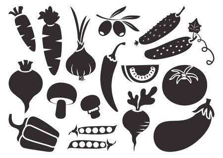 Black set of vegetables isolated on white background. Vector illustration