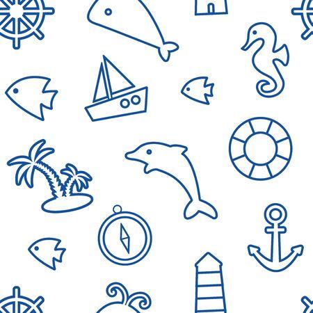 Nautical seamless pattern, marine theme, blue line art on white background. Vector illustration