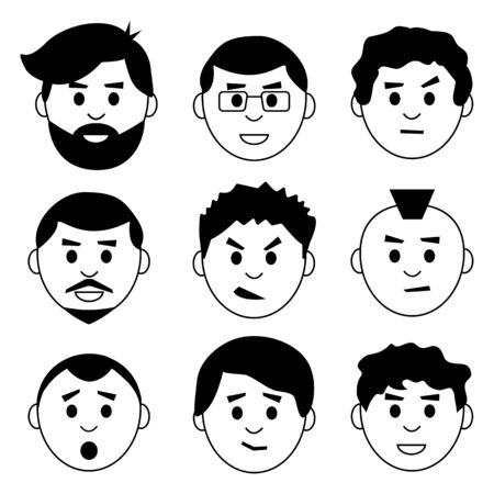Set of face mane, character with different emotion, avatar icons, black and white design. Vector illustration