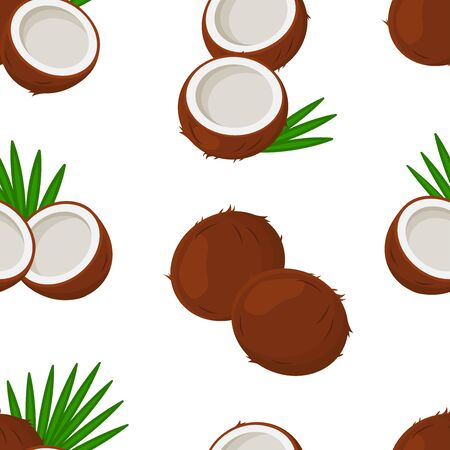 Tropical seamless pattern with coconuts and leaves palm tree isolated on white background. Vector illustration