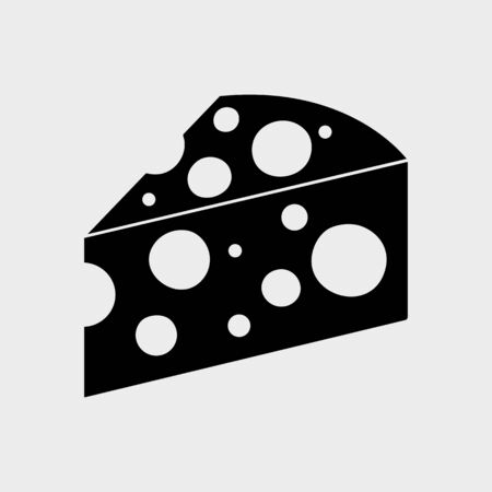 Black piece cheese icon. Vector illustration