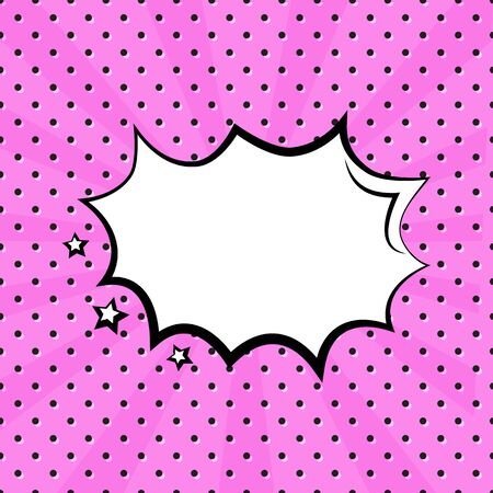 White empty speech comic bubble with stars on pink polka dot background in pop art style. Vector illustration